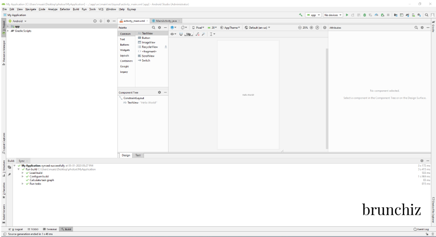 Android Studio First Screen